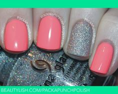 Neon Pink Nails with a Glitter Accent Nail | Samantha of PackAPunchPolish S.'s (packapunchpolish) Photo | Beautylish