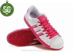 Officiel Adidas Superstar II Chaussures Roses Blanc Femmes (Sacoche Adidas Pas Cher)