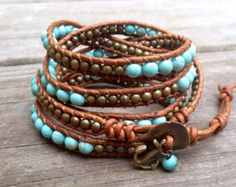 Turquoise and Brass Beaded Leather Wrap Bracelet with anchor charm 5x, Nautical sea beach bracelet,