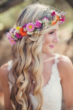Soft waves with a floral crown for pretty bridal hair