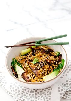 Vegan Shitake Bok Choy Soba Noodle Bowl - Vegan Dinner Recipes - Earth Balance