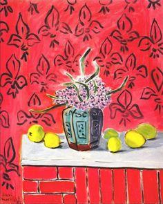 Jacintos y limones, con fondo de flor de lis (1943) de Henri Matisse