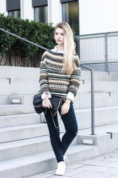 Franziska C. - Knitted Sweater + Stan Smith