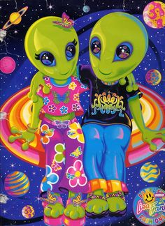 Lisa Frank Alien couple . True Love.