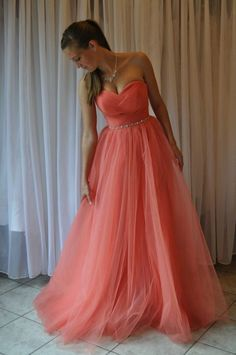 A line Coral Prom Dress,Sweetheart Tulle Party Dress,Strapless