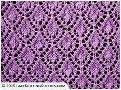 LACE KNITTING #6 | Openwork Diamonds stitch, multiple of 10 sts, + 6, 16-row repeat. ~~ Smiling Diamonds