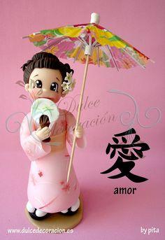 FIGURA PERSONALIZADA GEISHA by Dulce decoración (modelado - tartas decoradas), via Flickr