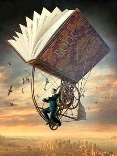 ( 25 Stunning Surreal Illustrations and Creative Photo Manipulation by Igor Morski ) man flying riding an vintage old fashion flying book machine Illustrations, Illustration Art, Steampunk Kunst, Steampunk Book, Steampunk Bicycle, Steampunk Artwork, Kunst Online, World Of Books, Creative Photos