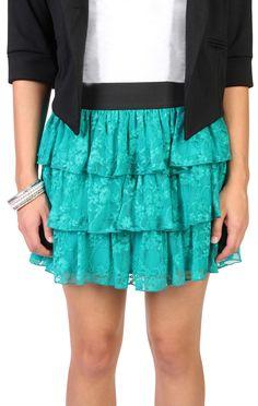 jewel tone lace triple tier skirt