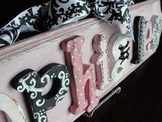 Hand painted hand crafted wooden shabby chic name plaques - 9 letter listing - totally customizable