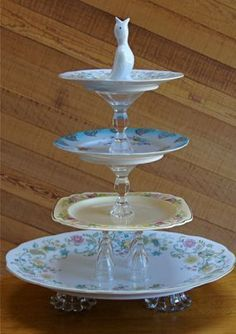 """~ Vintage Tiered Server ~ Orphan antique dishes + crystal candlesticks + cute """"pie bird"""" embellishment on top = Voila! I just love this idea!"""
