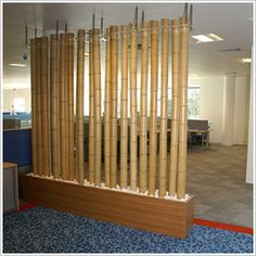 Make a wall with bamboo poles from michaels/hobby lobby! Bamboo Room Divider, Diy Room Divider, Room Dividers, Living Room Partition, Room Partition Designs, Deco Furniture, Home Decor Furniture, Bamboo Wall, Bamboo Poles