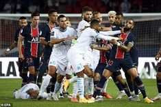 Tensions flared horribly on the field and a number of stars raced in during stoppage time Psg, Paris Saint Germain, Bt Sport, World Football, Referee, The Clash, Neymar Jr, The Visitors, Champions League