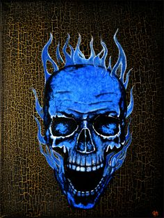 ARTFINDER: Burning Skull by Jakub D. Krzewniak - This is amazing, original,  darkness and Gothic stylized acrylic and mixed media painting on the art canvas. Painting with the special ultra violet effect bl...
