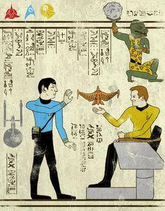 Captain Kirk, Spock, and the Gorn, Star Trek Hieroglyphics, pop art, illustration.