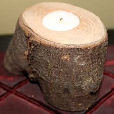 Rustic Log Candle Holder by HenleyCarpentryNC on Etsy, $10.00
