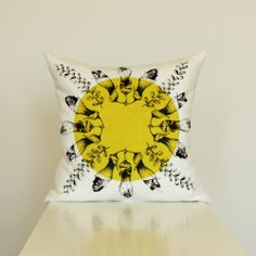 Kowhai in Chartreuse Hand Printed Cushion