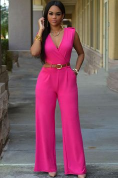 Its going to be a chic and sexy summer. The jumpsuit has v neckline, a sleeveless cut, wide leg design, two pockets, and followed by waist tied style. Perfect with oversized shades and gladiator sandals!