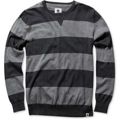 Element Men's Croy Stripe Sweater ($45) ❤ liked on Polyvore featuring men's fashion, men's clothing, men's sweaters, charcoal, mens sweaters and mens striped sweater