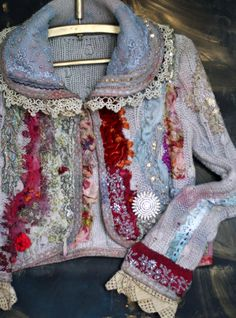 1700- romantic textile art jacket, nuno felted and hand embroidered details, silk , antique laces, mohair blend