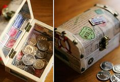 This mini travel chest bedecked with mini travel stickers becomes a treasure box when filled with the wedding coins. Perfect for a travel-themed wedding!