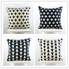 "18""*18"" Decorative Ikea Throw Pillow Cover  Feather Cross Geometry Printed Black Cotton Linen Cushion Cover almofadas para sofa"