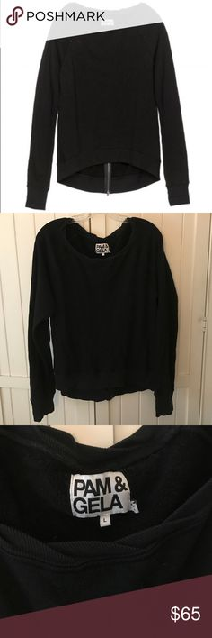 """NEW! Pam & Gela Sweatshirt Black Pam & Gela """"Basic Annie"""" style sweatshirt with zipper in the back. Size L, 65% cotton and 35% modal. In great condition. Pam & Gela Tops Sweatshirts & Hoodies"""