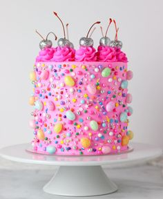 I know it isn't quite Friday yet, but this cake is ready to party! I will let you guys in on an amazing trick I learned from… Colorful Desserts, Cute Desserts, Colorful Cakes, Pretty Cakes, Beautiful Cakes, Amazing Cakes, Cotton Candy Cakes, Pink Birthday Cakes, Different Cakes