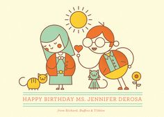 Happy Birthday Jen | Flickr - Photo Sharing! #people #illustration # limited color palette