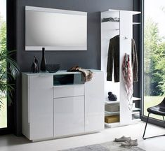 Exceptionnel Canberra Hallway Furniture Set 3 In White High Gloss And Glass
