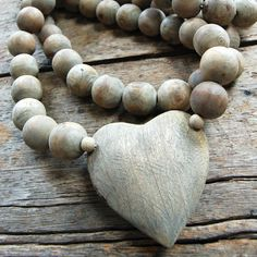 Big wooden prayer beads with heart charm