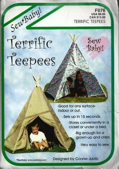 UNCUT Terrific Teepees Pattern F876 by SewReallyCute on Etsy