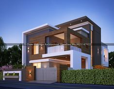 architectural visualizer modern exterior design in your thought Modern Exterior House Designs, Modern House Facades, Latest House Designs, Modern House Plans, Modern House Design, Exterior Design, House Outside Design, House Front Design, Small House Design