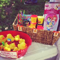 Rubber Ducky pond game. Sesame street birthday party