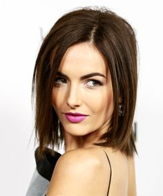 Camilla Belle Hairstyle - Medium Straight Casual Bob. Click on the image to try on this hairstyle and view styling steps!