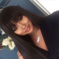 This is a Virgin Brazilian Hair 360 Lace Front Wigs Natural Straight Hair For Woman. Our wigs are both comfortable and tight. Wigs With Bangs, Hairstyles With Bangs, Weave Hairstyles, Straight Hairstyles, Black Hairstyles, Sew In With Bangs, Teenage Hairstyles, Beautiful Hairstyles, Latest Hairstyles