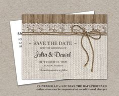 Rustic Save The Date Card Printable Burlap by iDesignStationery