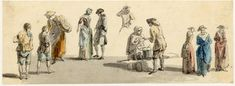 Street scene, one of the figure sketches made in Edinburgh and the neighbourhood after the rebellion of 1745; two barefoot boys and a woman with a basket, a man and woman talking, a man getting drink from an old woman's stall, three women seen from behind Pen and grey ink and grey wash, with watercolour  Paul Sandby