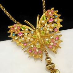 Beautiful Signed ART Vintage Butterfly Art Glass Rhinestones Tassels Necklace Pink Blue $175.00