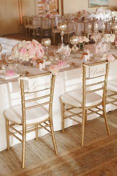 Photo: Marisa Holmes via Brides; Color Inspiration: Shimmering Gold Wedding Ideas - wedding reception idea;