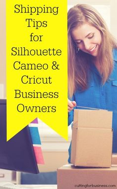 Learn how to easily ship packages from home in your Silhouette Cameo or Cricut Small Business - by cuttingforbusines. Business Help, Craft Business, Business Advice, Online Business, Business Products, Create A Sticker, Shilouette Cameo, Shipping Packaging