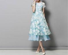 Women Clothing Maxi Dress Light Blue Chiffon Organza by starriver