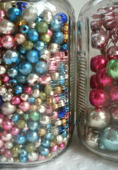 Vintage Mercury Beads in Jars