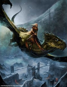 Queen Alysanne Targaryen riding her dragon Silverwing at the Wall - by Emile Denis.