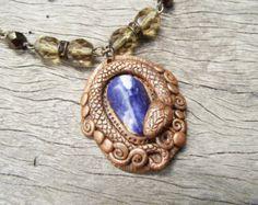 Viper Snake Pendant- handmade ooak Sodalite gemstone polymer clay blue bronze brown glass beads fantasy cosplay gothic Hidden Treasury