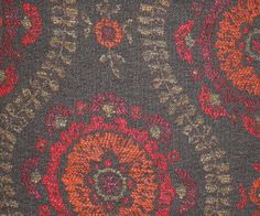 Ottoline Weave Upholstery Fabric A lovely textured woven cloth with medallion design in orange, red and gold on a chocolate background. Mulberry Home, Some Ideas, Orange Red, Room Colors, Printing On Fabric, Pattern Design, Weave, Print Patterns, Upholstery