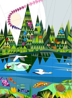 Forest and Lake QAL Art Quilt Paper Piecing pattern www.quiltartdesigns.blogspot.com