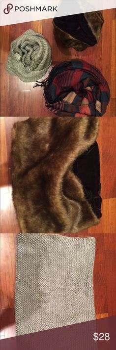 Winter scarves bundle Moving to FL! Check out my other winter items. Three beautiful scarves: a fur stole from anthropologie, an infinity muff from H&M and a long blanket scarf from H&M. A little wear on the blanket scarf, but otherwise these are in great shape. Anthropologie Accessories Scarves & Wraps