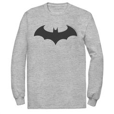 Answer the call with this men's Batman tee. New Batman Suit, Super Hero Outfits, Grey Long Sleeve Shirt, Hoodies, Sweatshirts, Dc Comics, Suits, Tees, Mens Tops