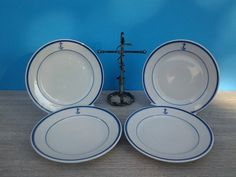 US Navy fouled anchor bread and butter plates - Set of four - Shenango China - & US Navy fouled anchor cereal bowls - Set of four - Homer Laughlin ...